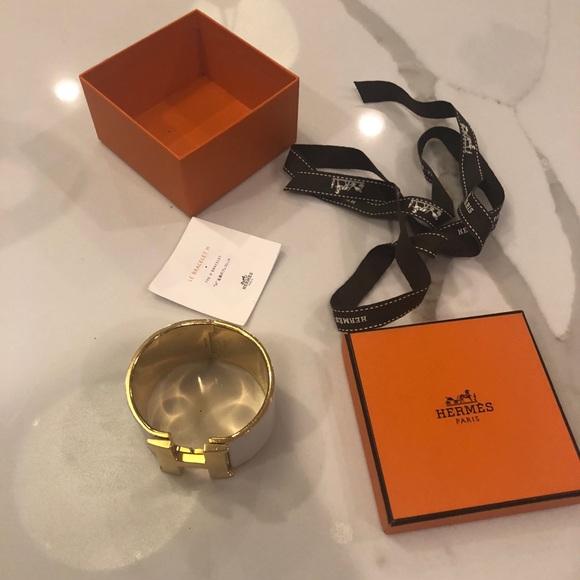Hermes Jewelry   Clic Clac H Extra Wide White Bracelet Gold   Poshmark 4ad68679366